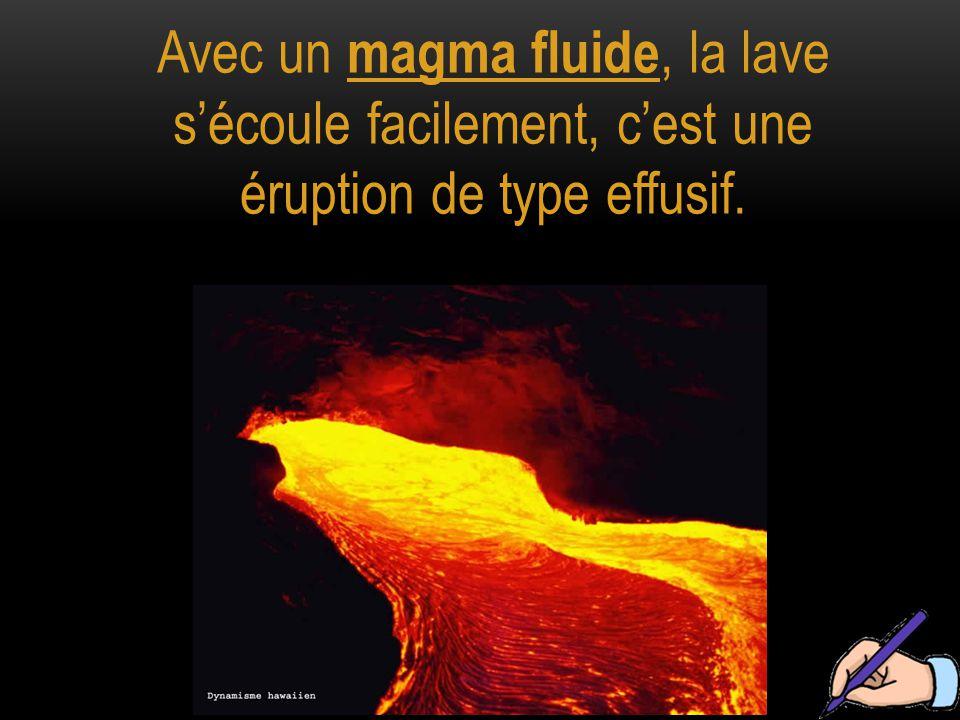 Avec un magma fluide, la lave s'écoule facilement, c'est une éruption de type effusif.