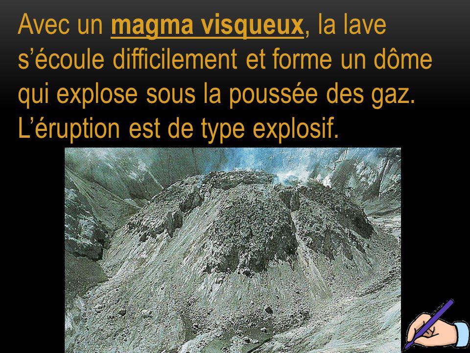 Avec un magma visqueux, la lave s'écoule difficilement et forme un dôme qui explose sous la poussée des gaz.