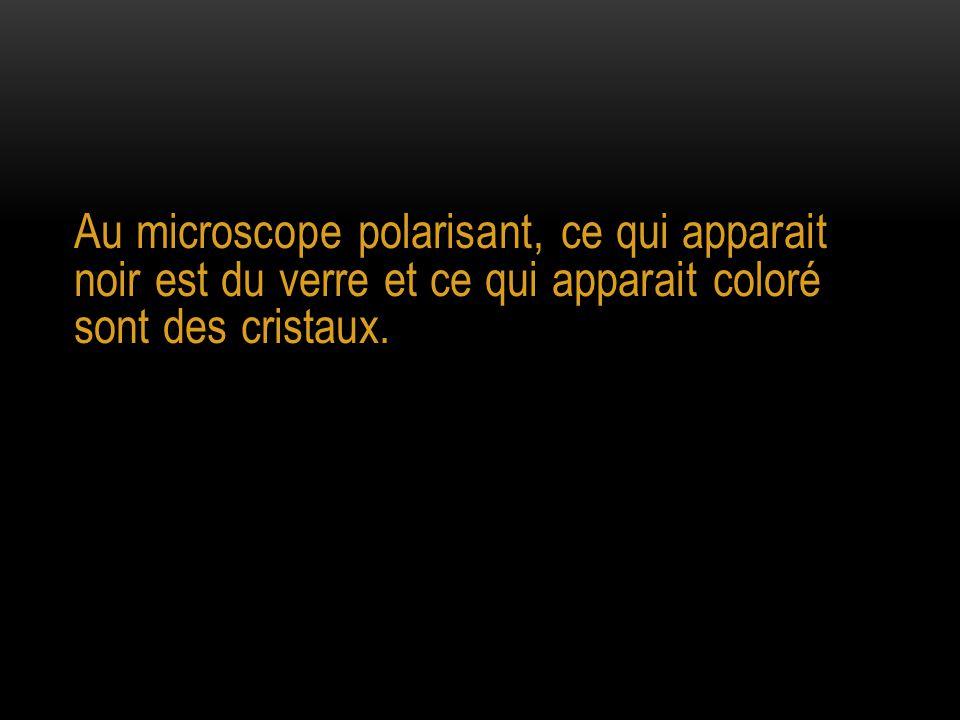 Au microscope polarisant, ce qui apparait noir est du verre et ce qui apparait coloré sont des cristaux.