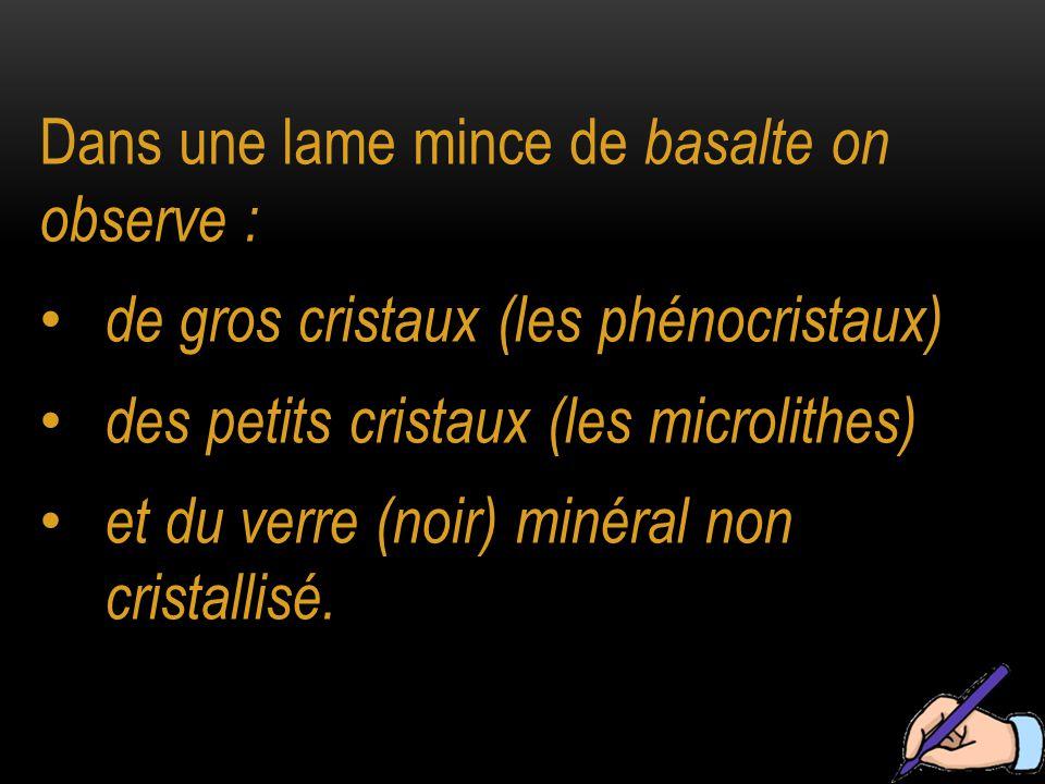 Dans une lame mince de basalte on observe :