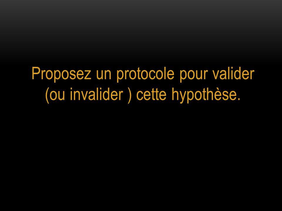 Proposez un protocole pour valider (ou invalider ) cette hypothèse.