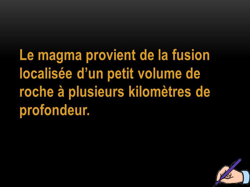 Le magma provient de la fusion localisée d'un petit volume de roche à plusieurs kilomètres de profondeur.