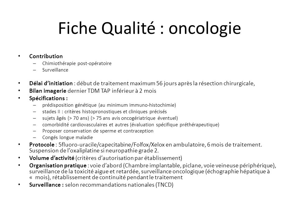 Fhf cancer parcours de soin pour le cancer colorectal ppt video online t l charger - Protocole chambre implantable ...