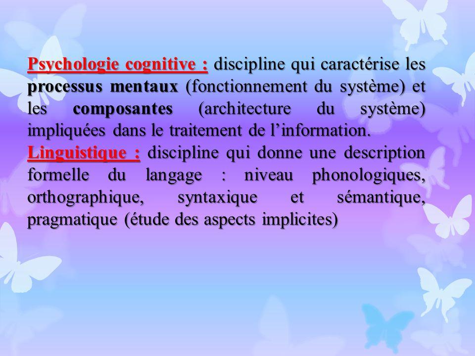 Psychologie cognitive : discipline qui caractérise les processus mentaux (fonctionnement du système) et les composantes (architecture du système) impliquées dans le traitement de l'information.