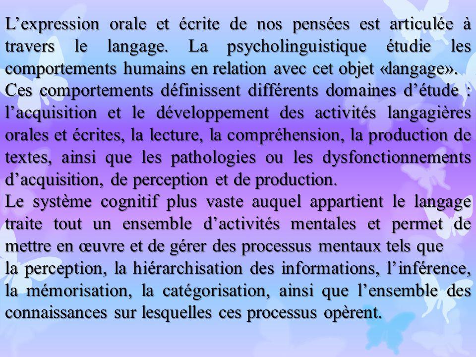 L'expression orale et écrite de nos pensées est articulée à travers le langage. La psycholinguistique étudie les comportements humains en relation avec cet objet «langage».
