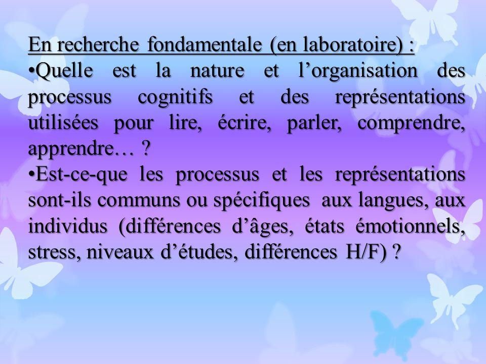 En recherche fondamentale (en laboratoire) :