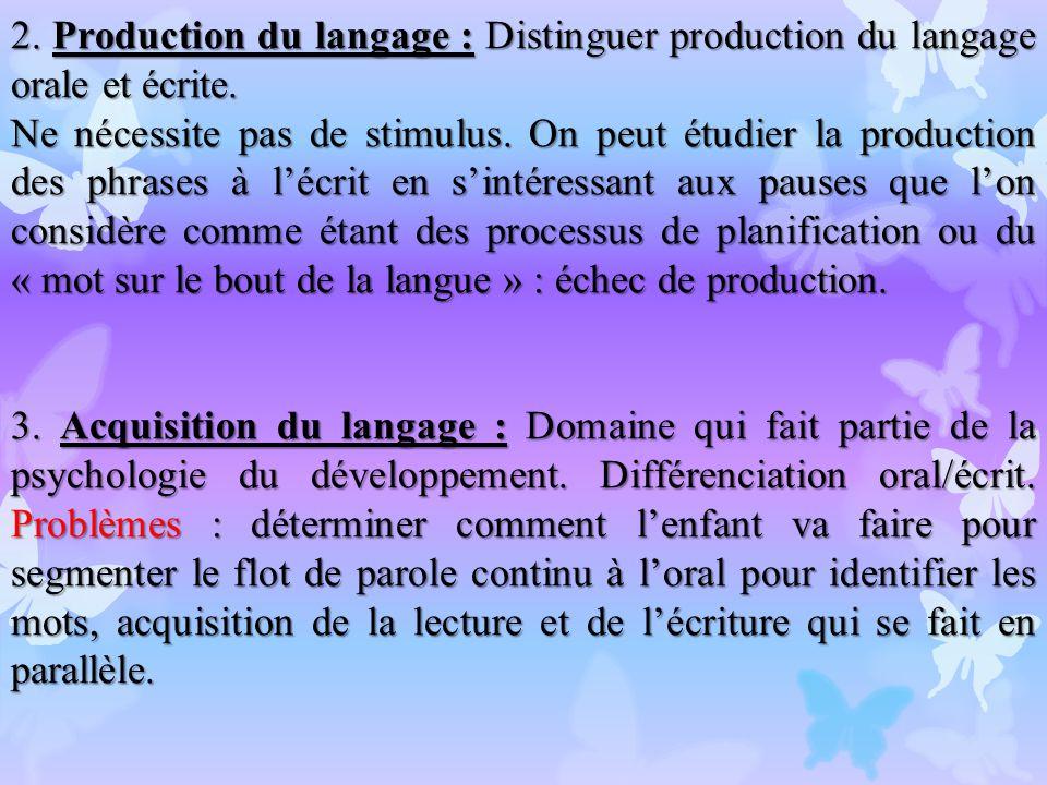 2. Production du langage : Distinguer production du langage orale et écrite.