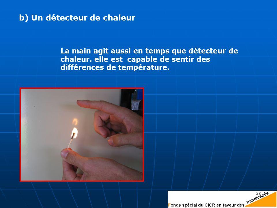 b) Un détecteur de chaleur