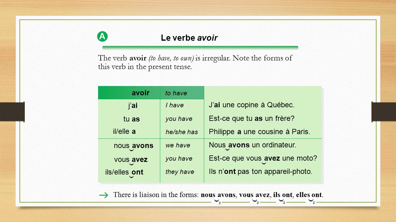 A Le verbe avoir. The verb avoir (to have, to own) is irregular. Note the forms of this verb in the present tense.