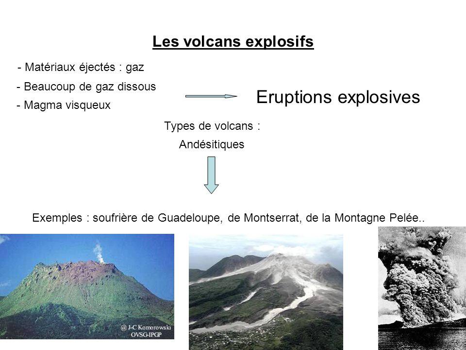 Eruptions explosives Les volcans explosifs - Matériaux éjectés : gaz