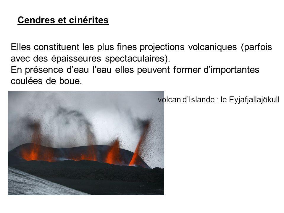 Cendres et cinérites Elles constituent les plus fines projections volcaniques (parfois avec des épaisseures spectaculaires).