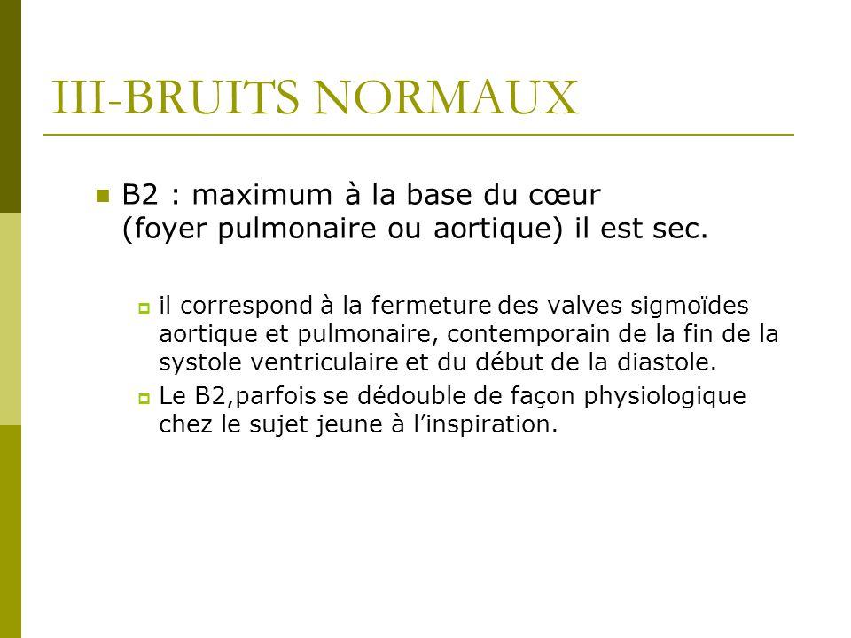 III-BRUITS NORMAUX B2 : maximum à la base du cœur (foyer pulmonaire ou aortique) il est sec.