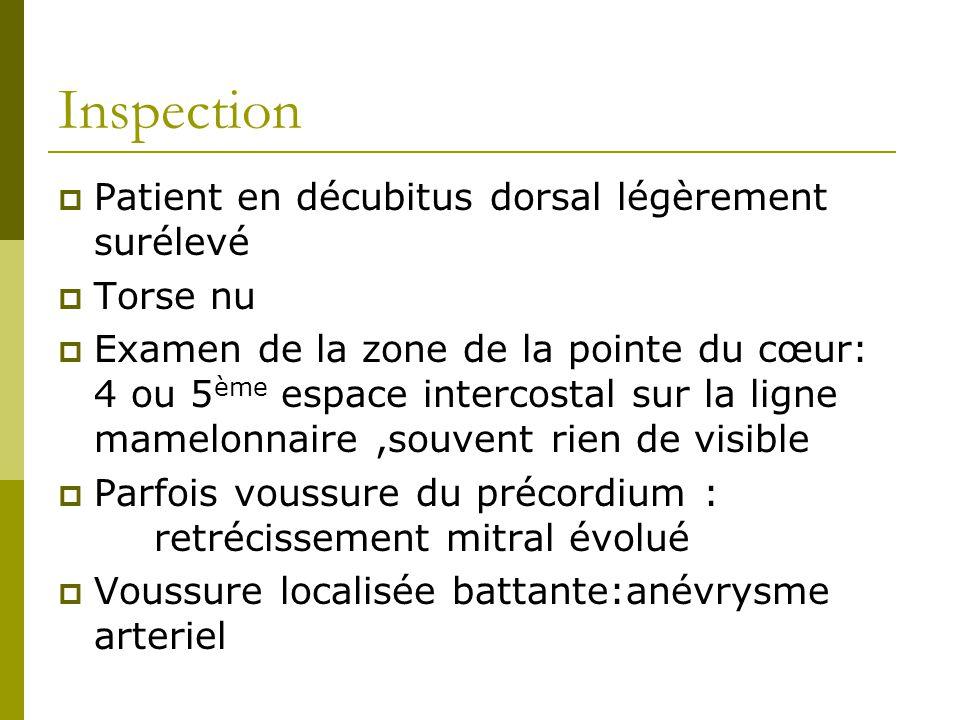 Inspection Patient en décubitus dorsal légèrement surélevé Torse nu