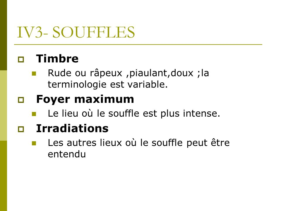 IV3- SOUFFLES Timbre Foyer maximum Irradiations