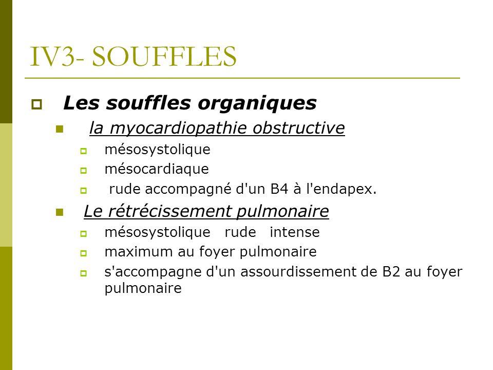 IV3- SOUFFLES Les souffles organiques la myocardiopathie obstructive