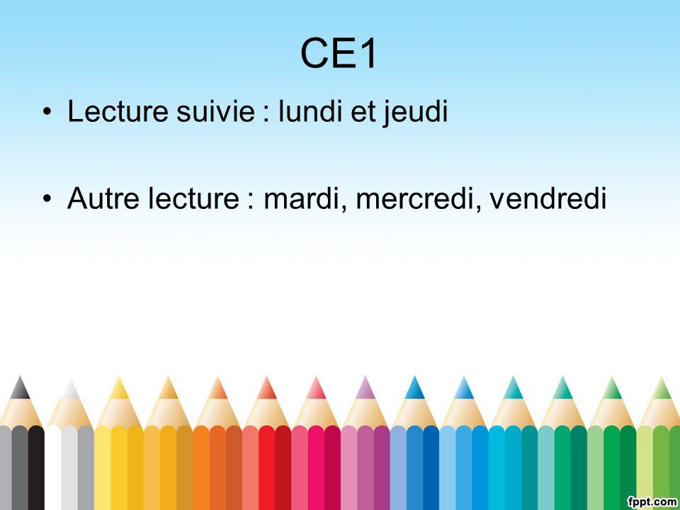 CE1 Lecture suivie : lundi et jeudi
