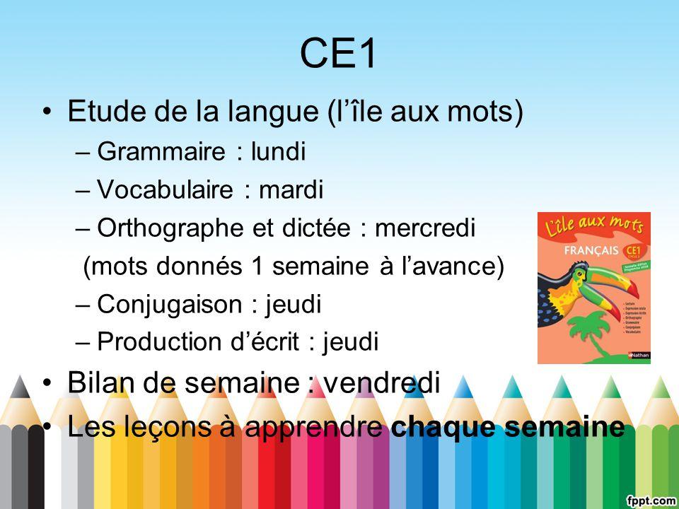 CE1 Etude de la langue (l'île aux mots) Bilan de semaine : vendredi