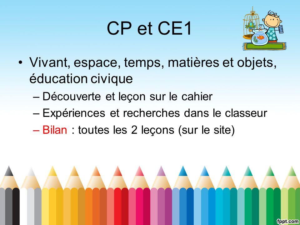 CP et CE1 Vivant, espace, temps, matières et objets, éducation civique