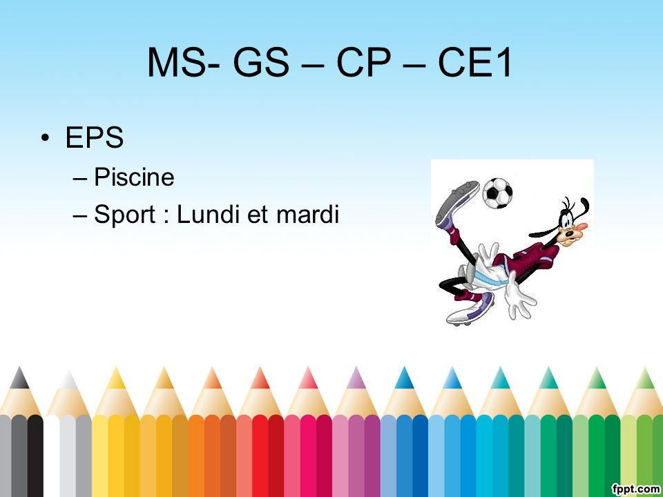 MS- GS – CP – CE1 EPS Piscine Sport : Lundi et mardi