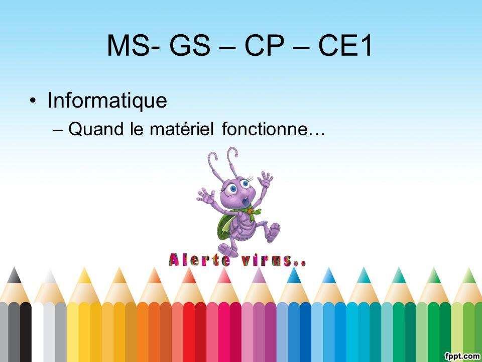 MS- GS – CP – CE1 Informatique Quand le matériel fonctionne…