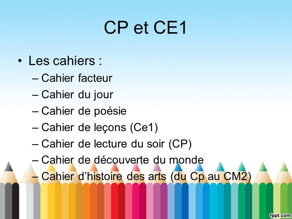 CP et CE1 Les cahiers : Cahier facteur Cahier du jour Cahier de poésie