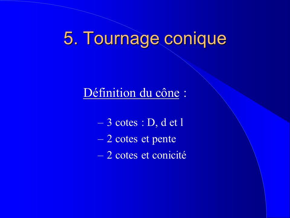 5. Tournage conique Définition du cône : 3 cotes : D, d et l