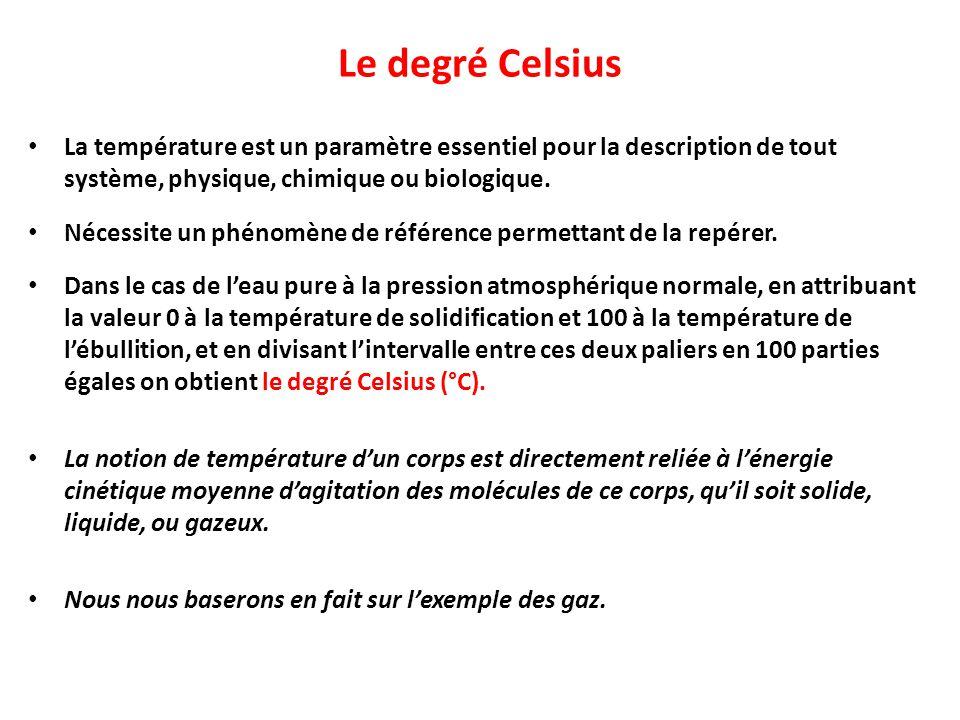 Le degré Celsius La température est un paramètre essentiel pour la description de tout système, physique, chimique ou biologique.