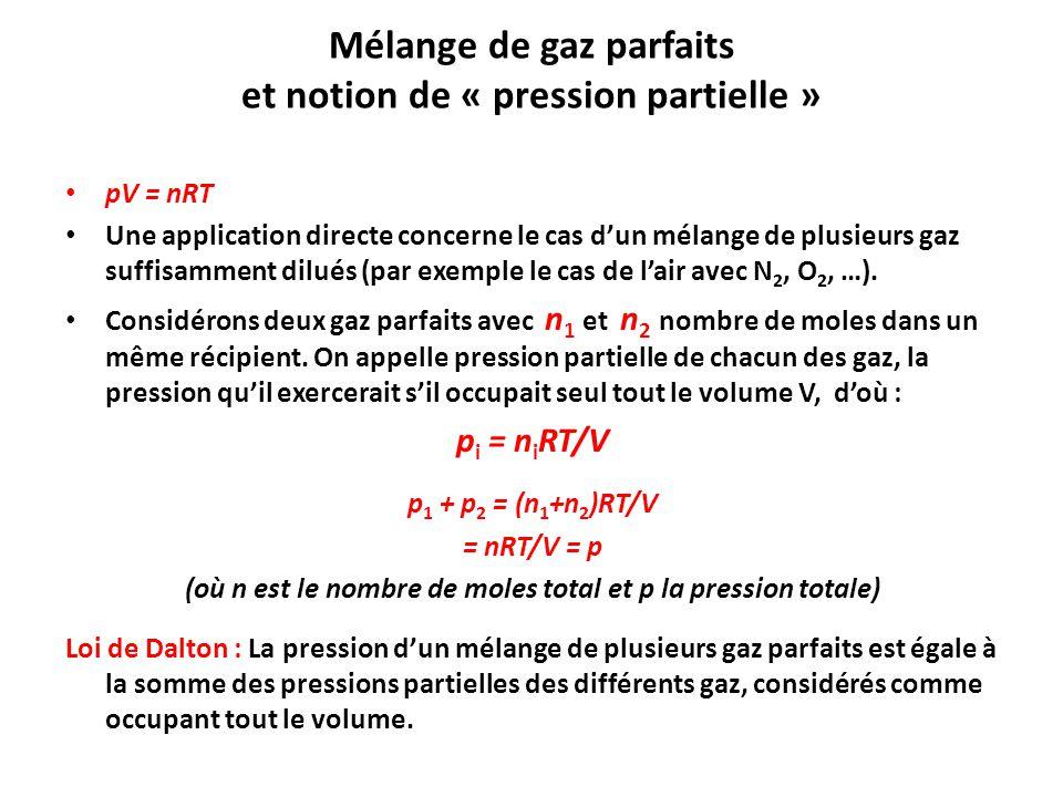 Mélange de gaz parfaits et notion de « pression partielle »