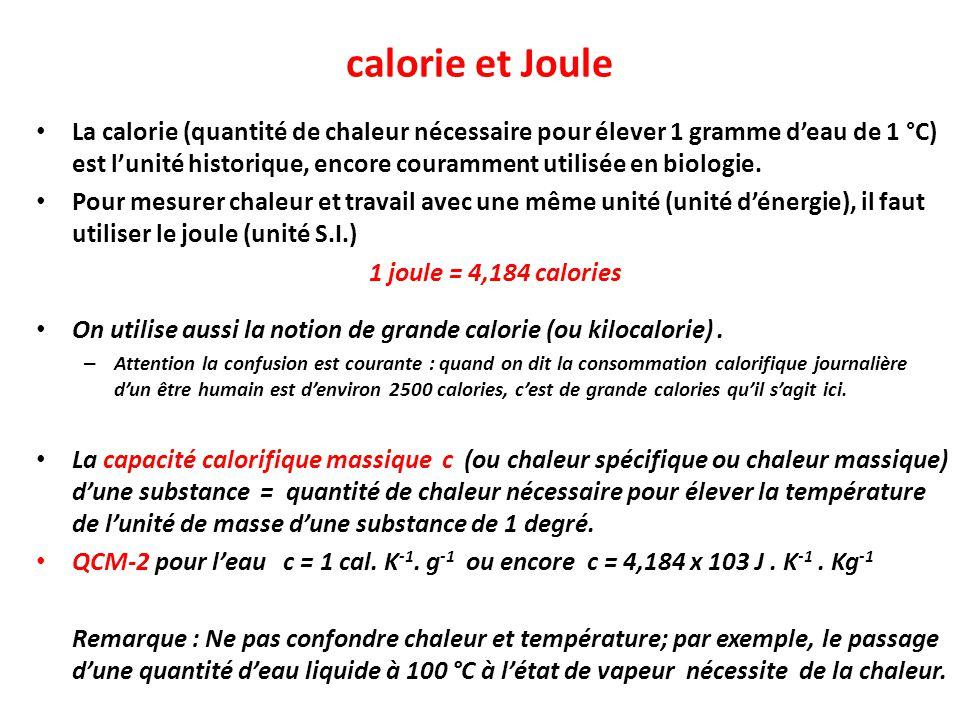 calorie et Joule
