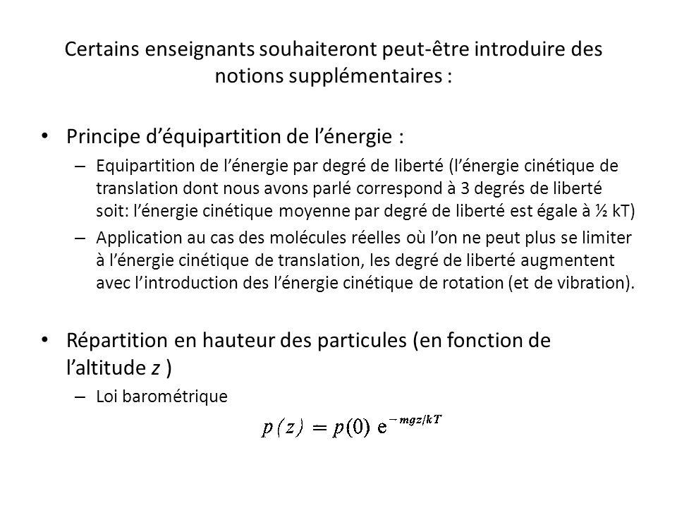 Principe d'équipartition de l'énergie :