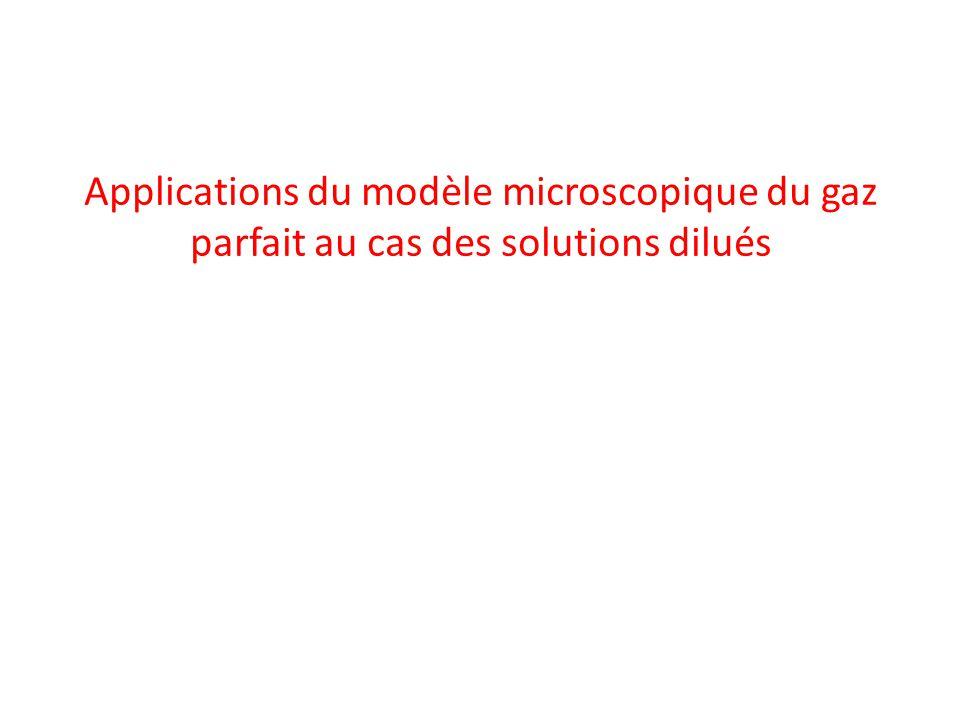 Applications du modèle microscopique du gaz parfait au cas des solutions dilués