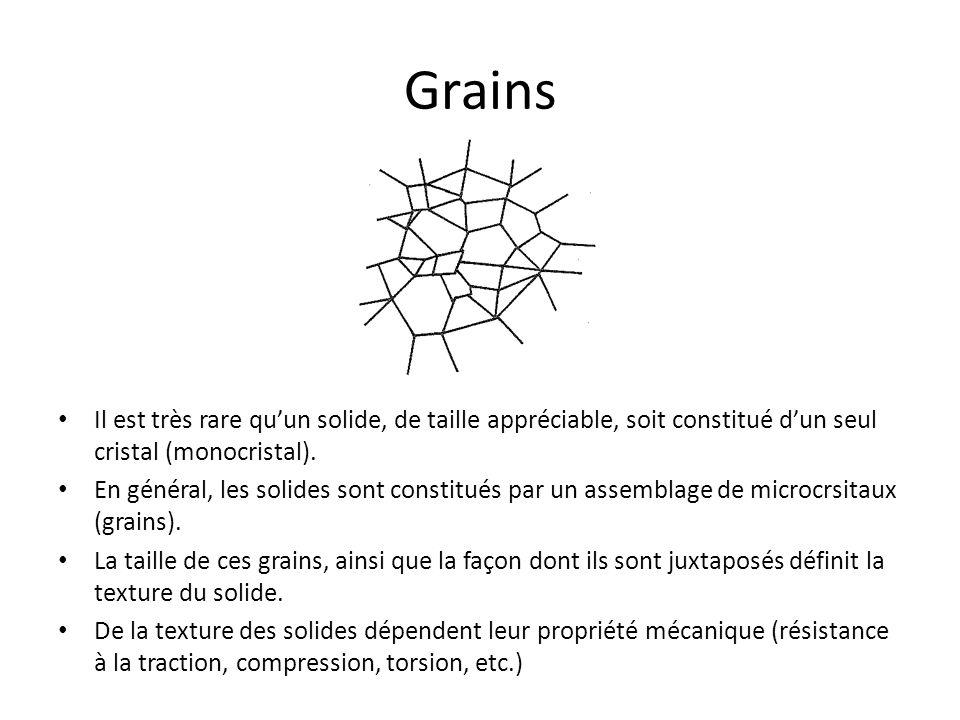 Grains Il est très rare qu'un solide, de taille appréciable, soit constitué d'un seul cristal (monocristal).