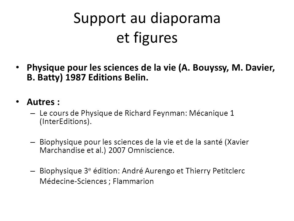 Support au diaporama et figures