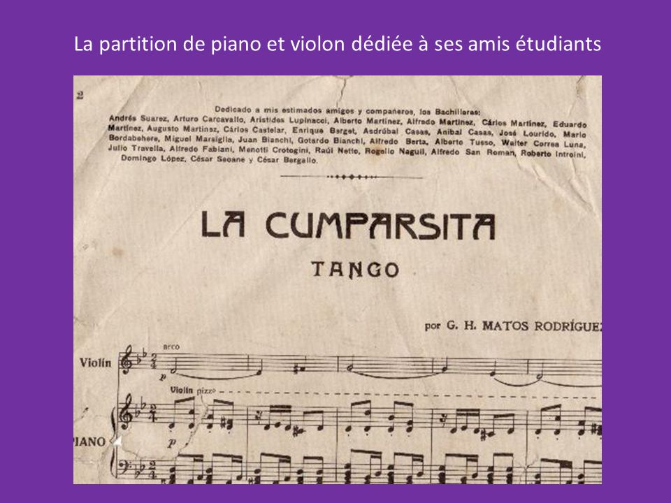 La partition de piano et violon dédiée à ses amis étudiants