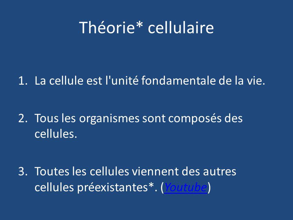 Théorie* cellulaire La cellule est l unité fondamentale de la vie.