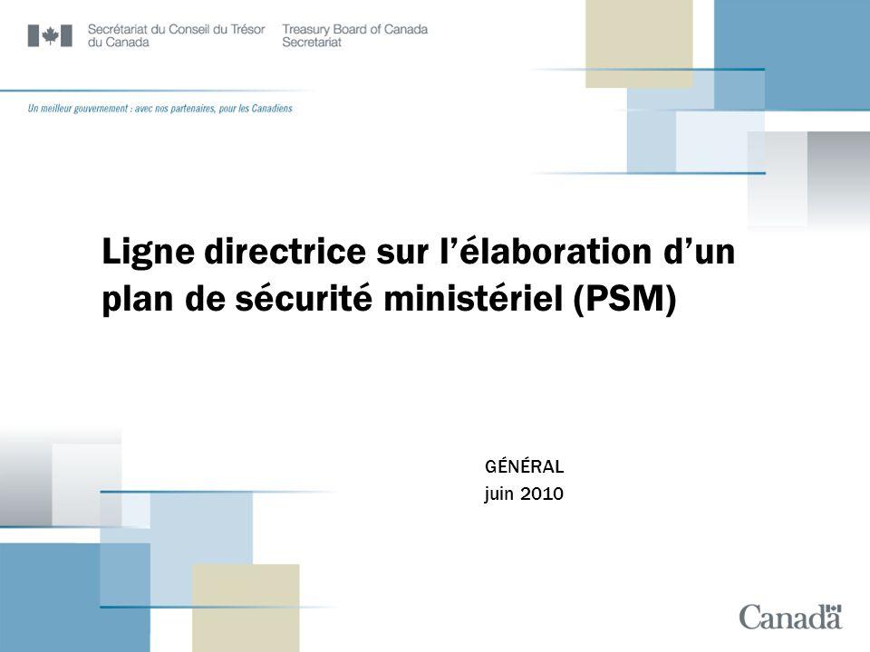 Ligne directrice sur l'élaboration d'un plan de sécurité ministériel (PSM)
