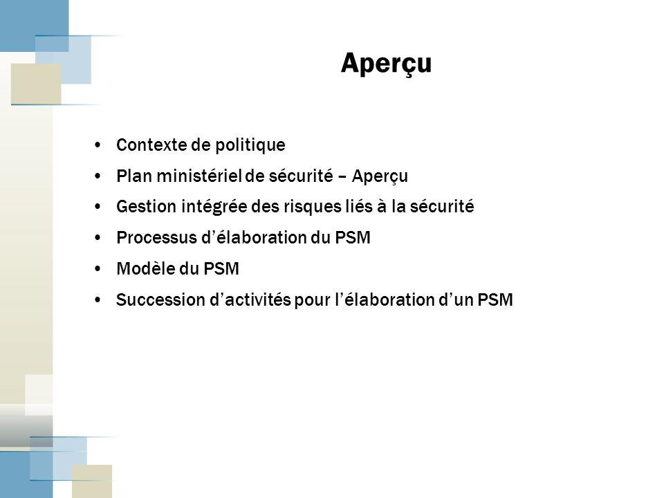 Aperçu Contexte de politique Plan ministériel de sécurité – Aperçu