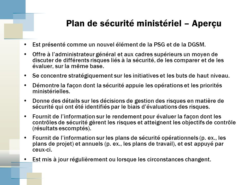 Plan de sécurité ministériel – Aperçu