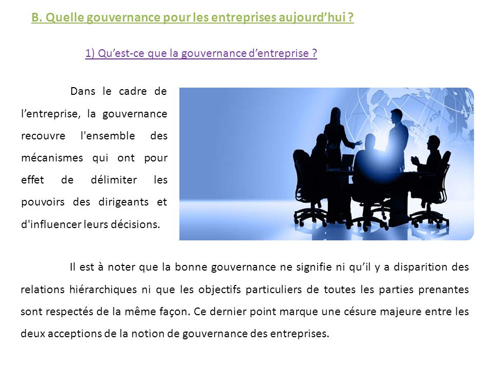 qu est ce que la gouvernance d entreprise pdf