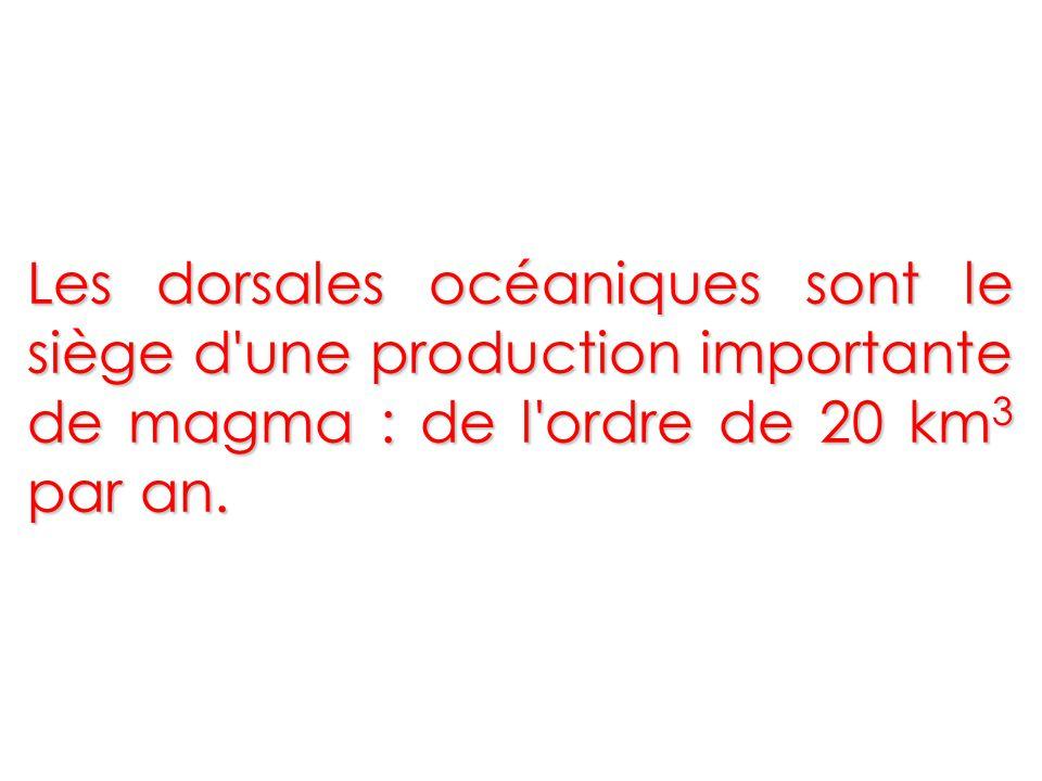 Les dorsales océaniques sont le siège d une production importante de magma : de l ordre de 20 km3 par an.
