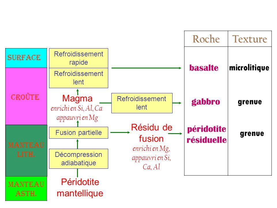 Roche Texture basalte microlitique Magma gabbro grenue