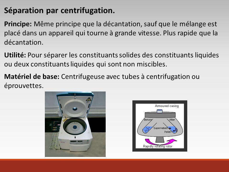 Séparation par centrifugation.
