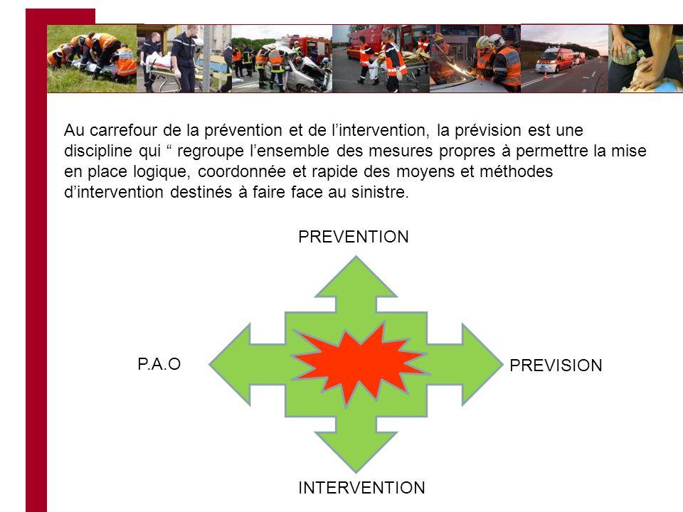 Au carrefour de la prévention et de l'intervention, la prévision est une discipline qui regroupe l'ensemble des mesures propres à permettre la mise en place logique, coordonnée et rapide des moyens et méthodes d'intervention destinés à faire face au sinistre.