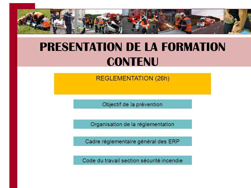 PRESENTATION DE LA FORMATION CONTENU