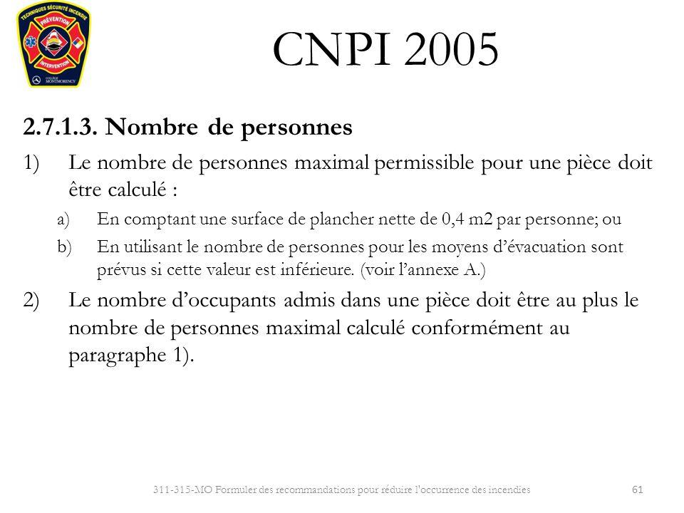 Cnpi 2005 r sum des exigences de la partie 2 ppt for Nombre de m2 par personne bureau