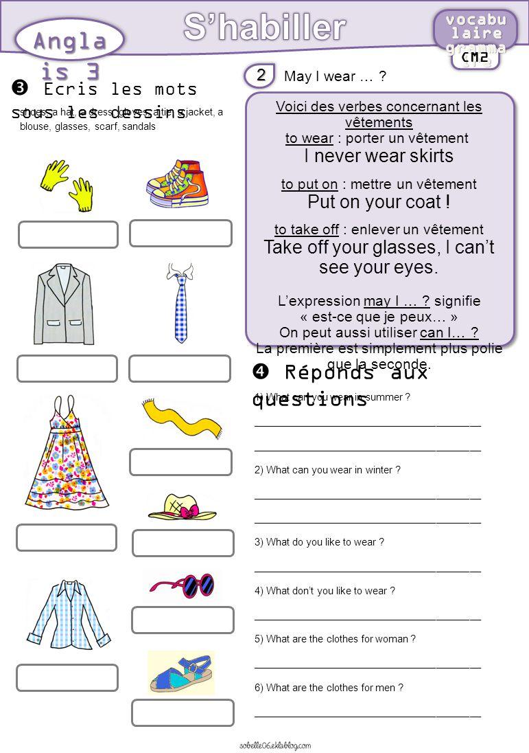 S habiller anglais 3 ecris les mots sous les dessins ppt t l charger - Vocabulaire anglais vente pret a porter ...