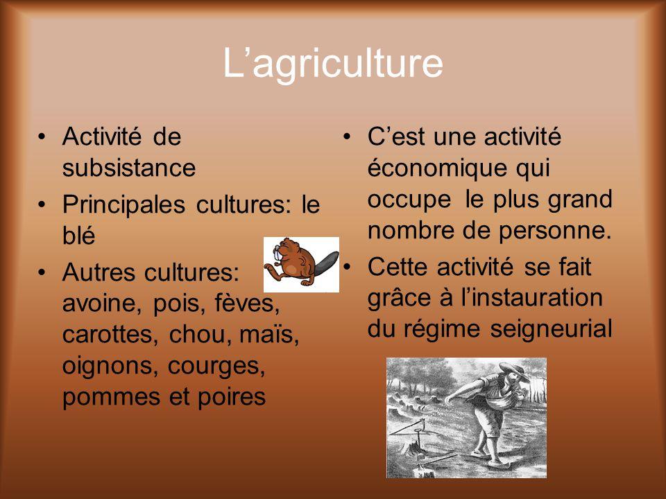 L'agriculture Activité de subsistance Principales cultures: le blé