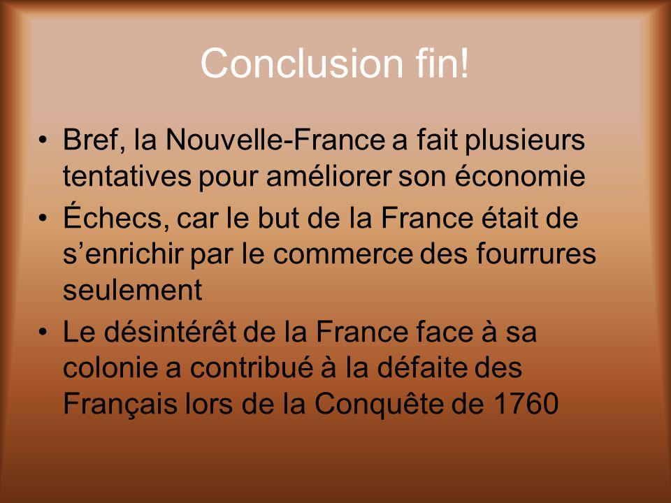 Conclusion fin! Bref, la Nouvelle-France a fait plusieurs tentatives pour améliorer son économie.