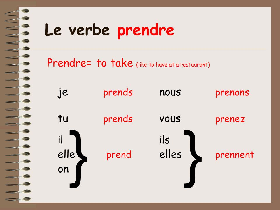 } } Le verbe prendre Prendre= to take (like to have at a restaurant)