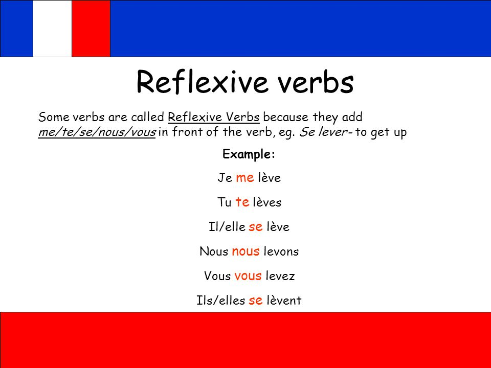 Reflexive verbs Some verbs are called Reflexive Verbs because they add me/te/se/nous/vous in front of the verb, eg. Se lever- to get up.
